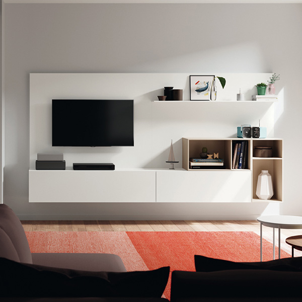 Mueble TV, Blanco, sencillo y mínimal